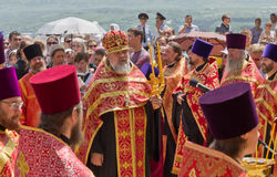 Orthodox priests. RUSSIA. PYATIGORSK. JUNE1: Religious procession in honor of the Blessing of Water June 1, 2013. Pyatigosk, Stavropol Territory royalty free stock photography