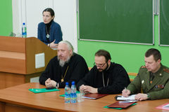 Orthodox reading at the Central library of the city of Gomel (Belarus). Royalty Free Stock Photos