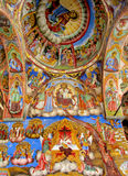 Orthodox religious christian icon painting. Orthodox icon painting in the church on the walls and roof dome. Story and subject from the Bible. Religion, Angel Stock Images