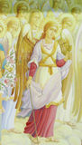 Orthodox religious christian painting of angels on church wall Royalty Free Stock Photo
