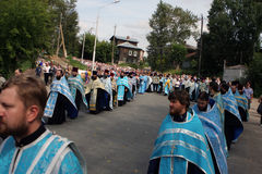 Orthodox religious procession. Russia. Tomsk. Orthodox procession from the city of Tomsk, passes through the village of Melnikovo Royalty Free Stock Photography