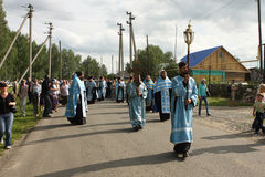 Orthodox religious procession. Russia. Tomsk. Orthodox procession from the city of Tomsk, passes through the village of Melnikovo Stock Photography