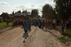 Orthodox religious procession in Melnikovo. Russia. Tomsk. Orthodox procession from the city of Tomsk, passes through the village of Melnikovo Stock Photography