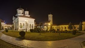 Orthodox Reunification Church in Alba-Iulia at night Royalty Free Stock Images