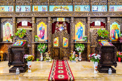 Orthodox Romanian church interior art Stock Photos