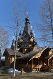 Orthodox Russian wooden church. Russia, Leningrad region, 14,04,2018 Temple of the Tikhvin Icon of the Mother of God in the village. Krasnoselskoye Royalty Free Stock Photo