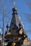 Orthodox Russian wooden church. Russia, Leningrad region, 14,04,2018 Temple of the Tikhvin Icon of the Mother of God in the village. Krasnoselskoye Royalty Free Stock Photos