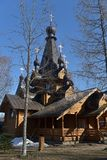 Orthodox Russian wooden church. Russia, Leningrad region, 14,04,2018 Temple of the Tikhvin Icon of the Mother of God in the village. Krasnoselskoye Stock Photography
