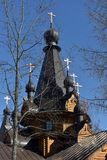 Orthodox Russian wooden church. Russia, Leningrad region, 14,04,2018 Temple of the Tikhvin Icon of the Mother of God in the village. Krasnoselskoye Stock Images