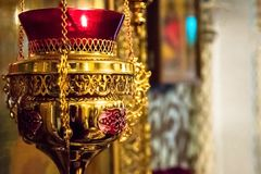 Orthodox sacral icon oil lamp. Orthodox icon oil lamp. Church attribute. Christianity and faith. Inside of the Church. Orthodoxy and Catholicism. Goodness and Royalty Free Stock Image