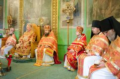 Orthodox service on 13 April 2015 at the St. Nicholas monastery in Gomel (Belarus). Stock Photography
