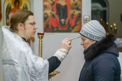 Orthodox service for the Baptism in the Kaluga region on 19 January 2016. Epiphany worship in the temples of Kaluga in Russia has solemnity and beauty. The royalty free stock images