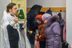 Orthodox service for the Baptism in the Kaluga region on 19 January 2016. Epiphany worship in the temples of Kaluga in Russia has solemnity and beauty. The stock image
