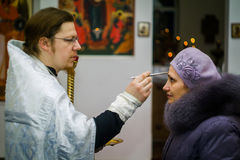 Orthodox service for the Baptism in the Kaluga region on 19 January 2016. Epiphany worship in the temples of Kaluga in Russia has solemnity and beauty. The royalty free stock photo