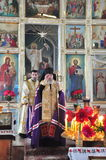 Orthodox service in the Belarusian Orthodox Church during the visit of the Bishop of Gomel and Zhlobin Aristarchus to the temples Stock Photography