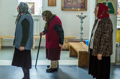 Orthodox service in one of the temples of Kaluga region (Russia) 25 March 2016. Stock Images