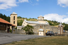 The orthodox Sopocani monastery in Serbia, general view Royalty Free Stock Photo