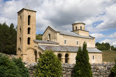 The orthodox Sopocani monastery in Serbia, UNESCO world heritage. The church was dedicated to the Holy Trinity and completed around 1265 Royalty Free Stock Photo