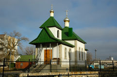 Orthodox temple. On the central area of the city of Frolovo. The Volgograd area. Russia Stock Image