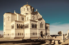 Orthodox temple. Against blue sky Royalty Free Stock Images