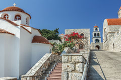 Orthodox temple of Agios Savvas on Greek Kalymnos stock photos
