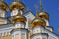 Orthodox temple on the background of blue sky. Royalty Free Stock Photo