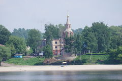 Orthodox temple on the banks of the river Volga in the provincial city of Yaroslavl Royalty Free Stock Image