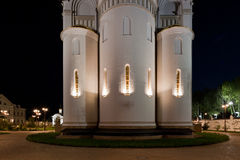 Orthodox temple buildings. The apse of the Church. Orthodox temple complex. Architectural lighting Royalty Free Stock Photography