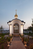 Orthodox temple buildings. The baptistery chapel. Architectural lighting Royalty Free Stock Photography