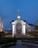 Orthodox temple buildings. The baptistery chapel. Architectural lighting Stock Image