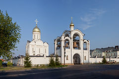 Orthodox temple buildings. Orthodox temple building. Temple and belltower Royalty Free Stock Photo