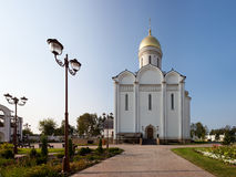 Orthodox temple buildings. Orthodox Church and street lamp Stock Photo