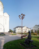 Orthodox temple buildings. Orthodox Church, street lamp and the statue of the Saint Royalty Free Stock Photos