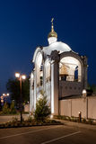 Orthodox temple buildings. Orthodox temple complex. Architectural lighting. Street lamp and bell tower Stock Photo