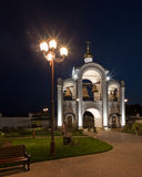 Orthodox temple buildings. Orthodox temple complex. Architectural lighting. Street lamp and bell tower Royalty Free Stock Image