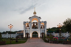 Orthodox temple buildings. Orthodox temple complex. Architectural lighting. Street lamp and bell tower Stock Photography