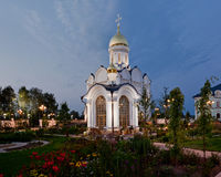 Orthodox temple buildings. Orthodox temple complex. The chapel. Architectural lighting. Sidewalks and landscaping Royalty Free Stock Photography