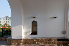 Orthodox temple buildings. Orthodox temple complex. The inner space of the gate Stock Photo