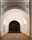 Orthodox temple buildings. Orthodox temple complex. The inner space of the gate Stock Photos