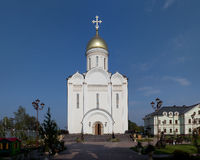 Orthodox temple buildings. Orthodox temple complex. Russian Church on background of blue sky Stock Photos