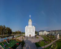 Orthodox temple buildings. Orthodox temple complex. Russian Church on background of blue sky Stock Images