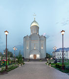 Orthodox temple buildings. Orthodox temple complex. View of the portal of the temple with evening architectural lighting Royalty Free Stock Images