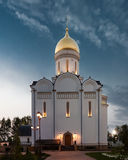 Orthodox temple buildings. Orthodox temple complex. View of the portal of the temple with evening architectural lighting Royalty Free Stock Image