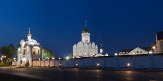 Orthodox temple buildings. Evening lighting of orthodox temple complex. Architectural landscape Stock Image