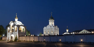 Orthodox temple buildings. Evening panorama of orthodox temple complex. Architectural lighting Stock Photo