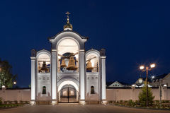Orthodox temple buildings. Evening panorama of orthodox temple complex. Architectural lighting of the belfry Royalty Free Stock Image