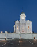 Orthodox temple buildings. The temple and the fence and street lamps. Architectural lighting Royalty Free Stock Images