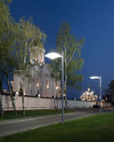 Orthodox temple buildings. The temple and the fence and street lamps. Architectural lighting Stock Images