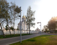 Orthodox temple buildings. The temple and the fence and street lamps. Architectural lighting Royalty Free Stock Image