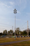 Orthodox temple buildings. Mast with flood lights. Lighting pylon Royalty Free Stock Images